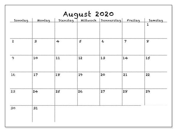 Kalender August 2020 Ausdrucken