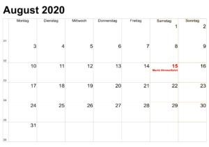 Kalender 2020 August Zum Ausdrucken