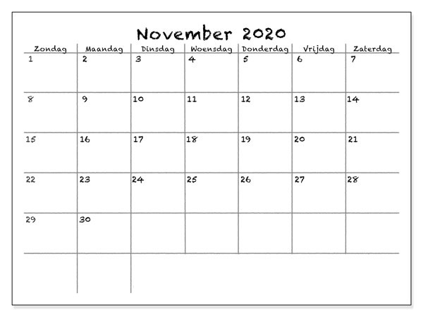 Kalender November 2020 Ausdrucken