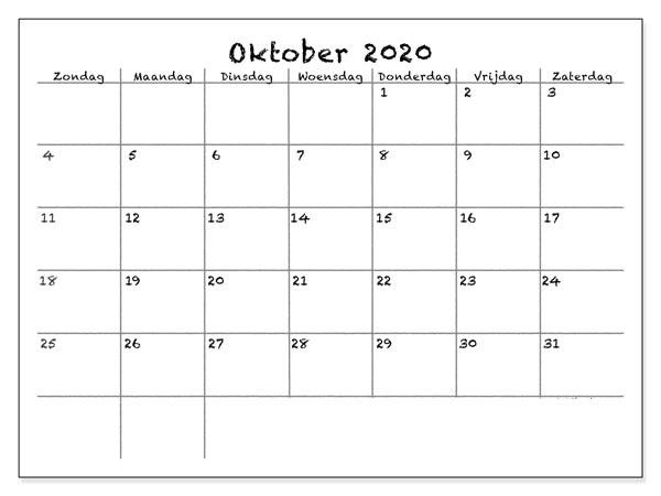 Kalender Oktober 2020 Ausdrucken