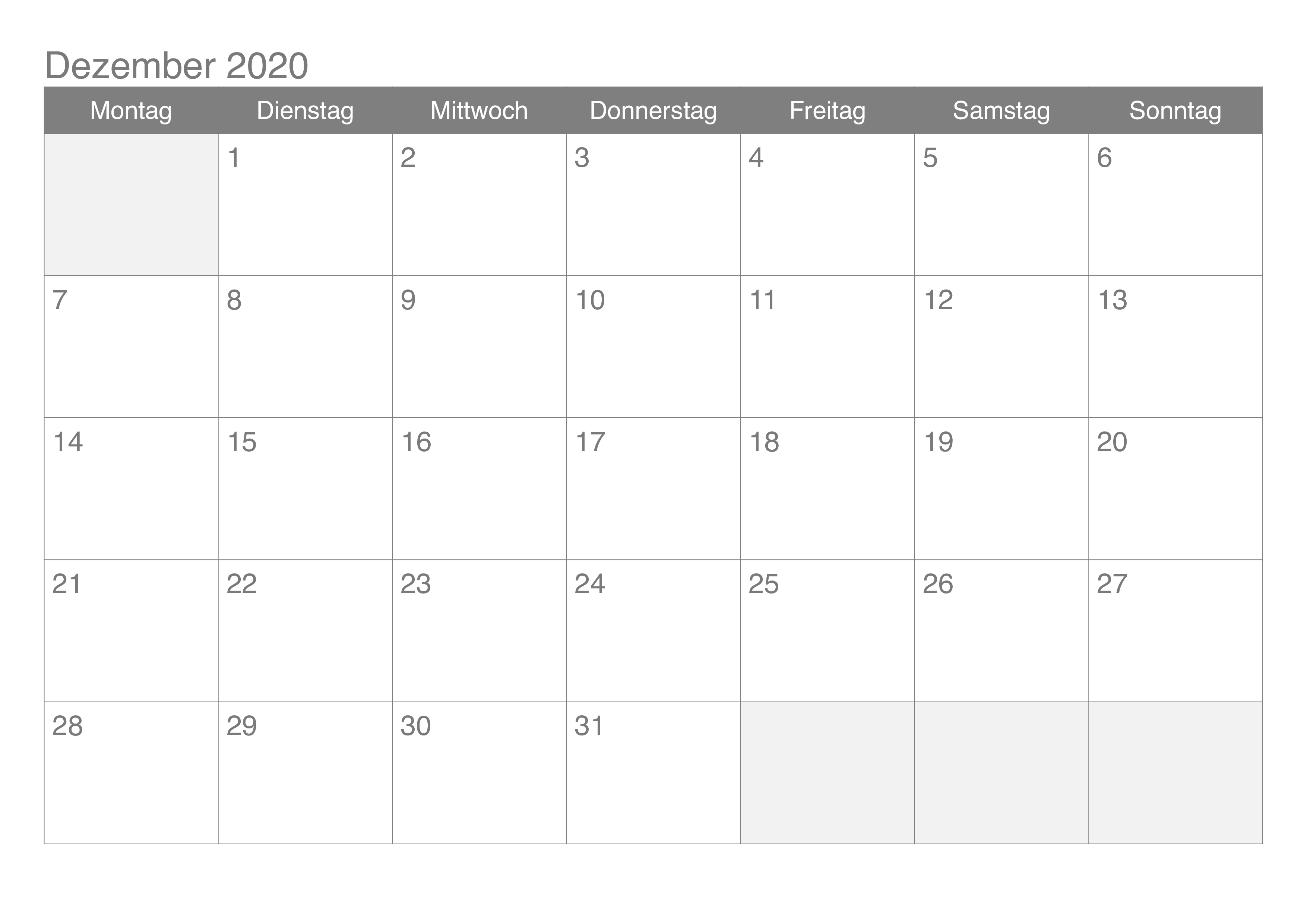 Kalender 2020 Dezember Zum Ausdrucken