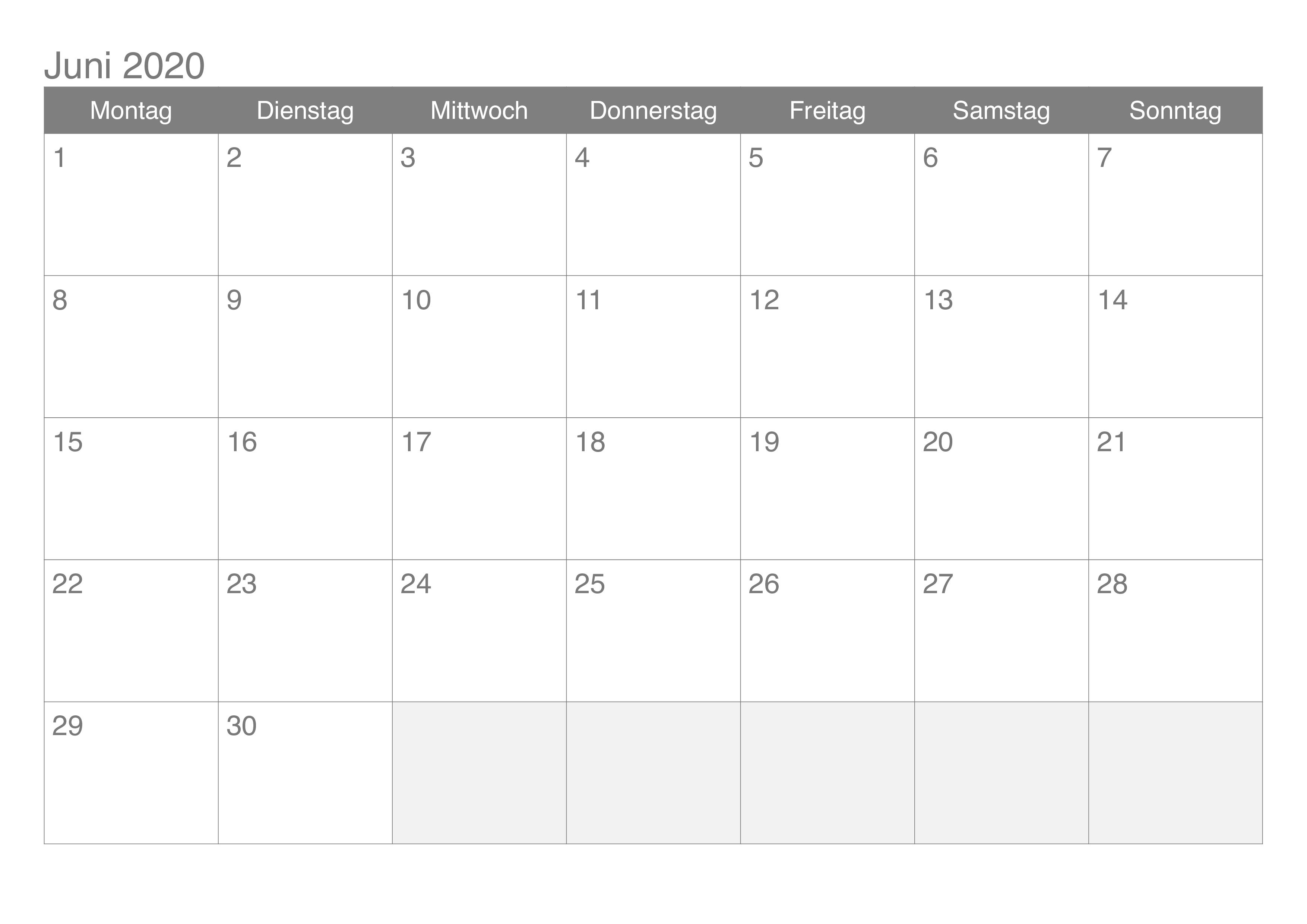 Monats Kalender Juni 2020
