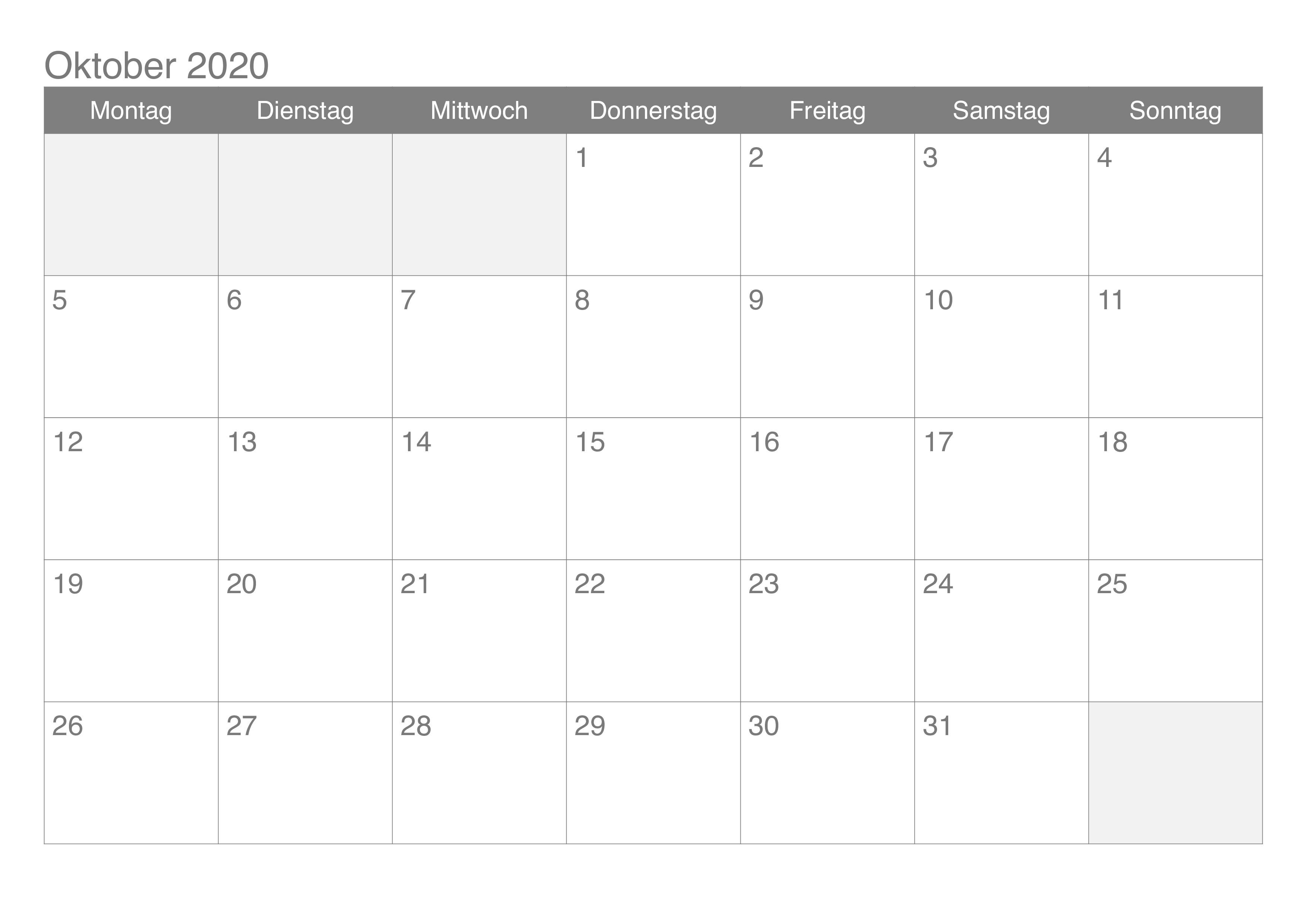 Kalender 2020 Oktober Zum Ausdrucken