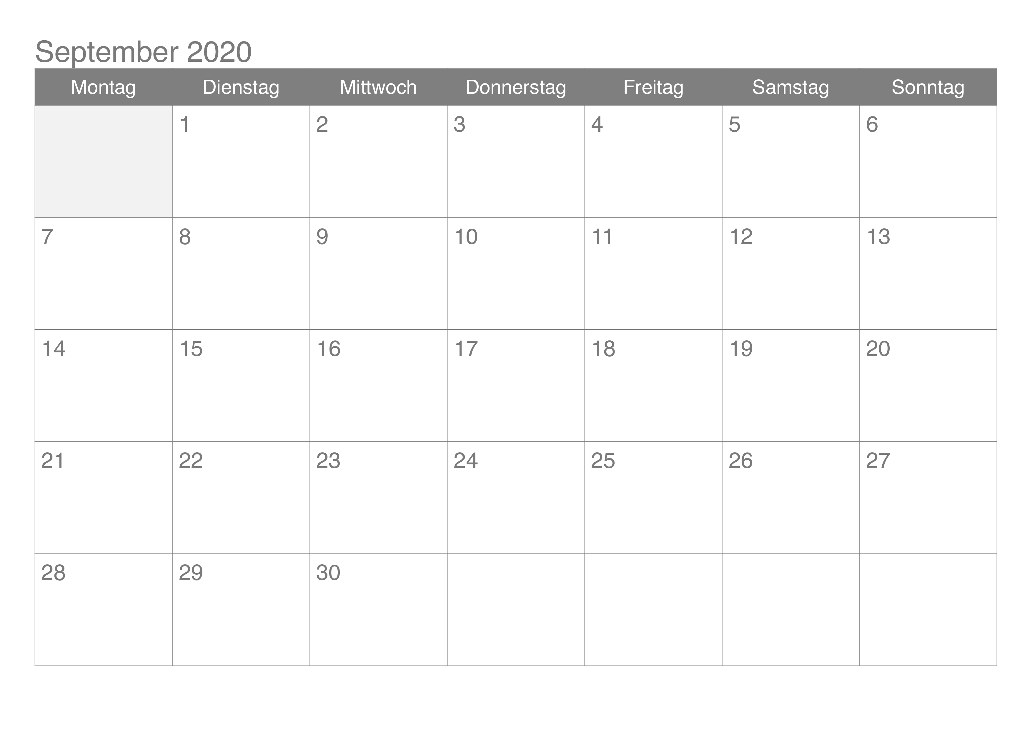 Kalender September 2020 Drucken