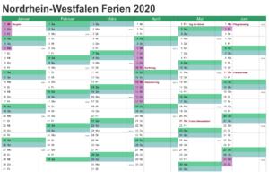 Sommerferien NRW 2020 Excel Word