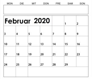 Kalender Februar 2020 Ausdrucken