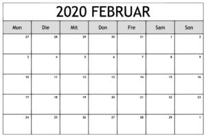 Kalender 2020 Februar Zum Ausdrucken