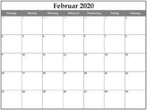Frei Kalender Februar 2020 Ausdrucken