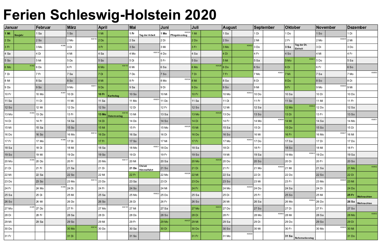 Kalender Schleswig-Holstein 2020 Zum Ausdrucken