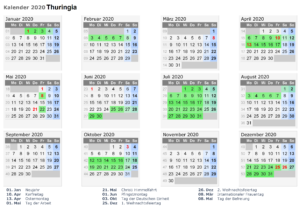 Sommerferien Thuringia 2020 Excel Word