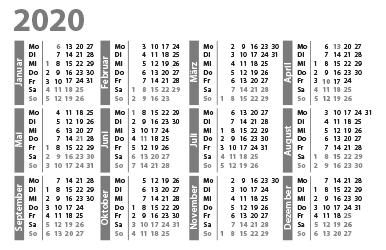 Kalender Thuringia 2020 Zum Ausdrucken