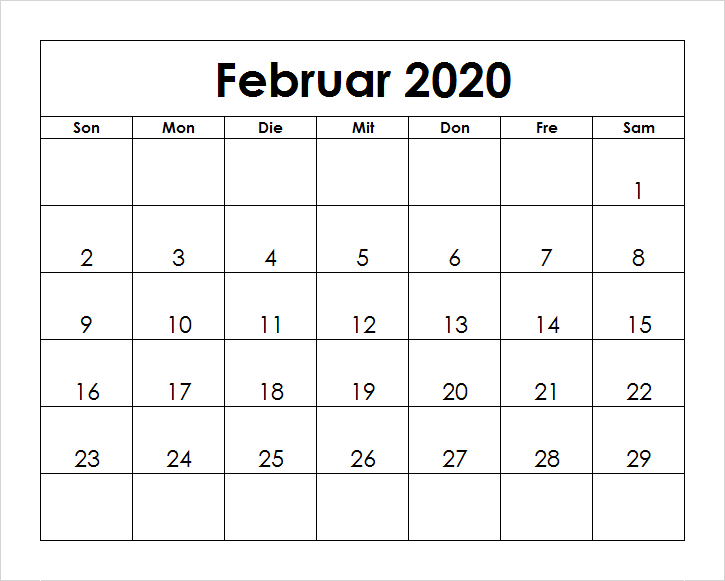 Monats Kalender Februar 2020