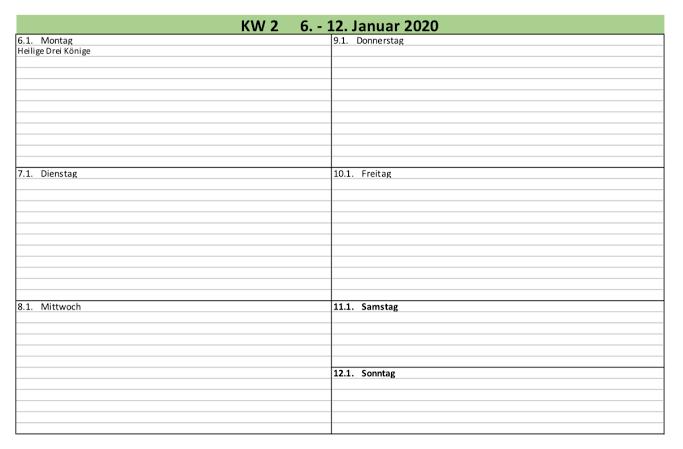 Wochenplaner Zum Ausdrucken 2020