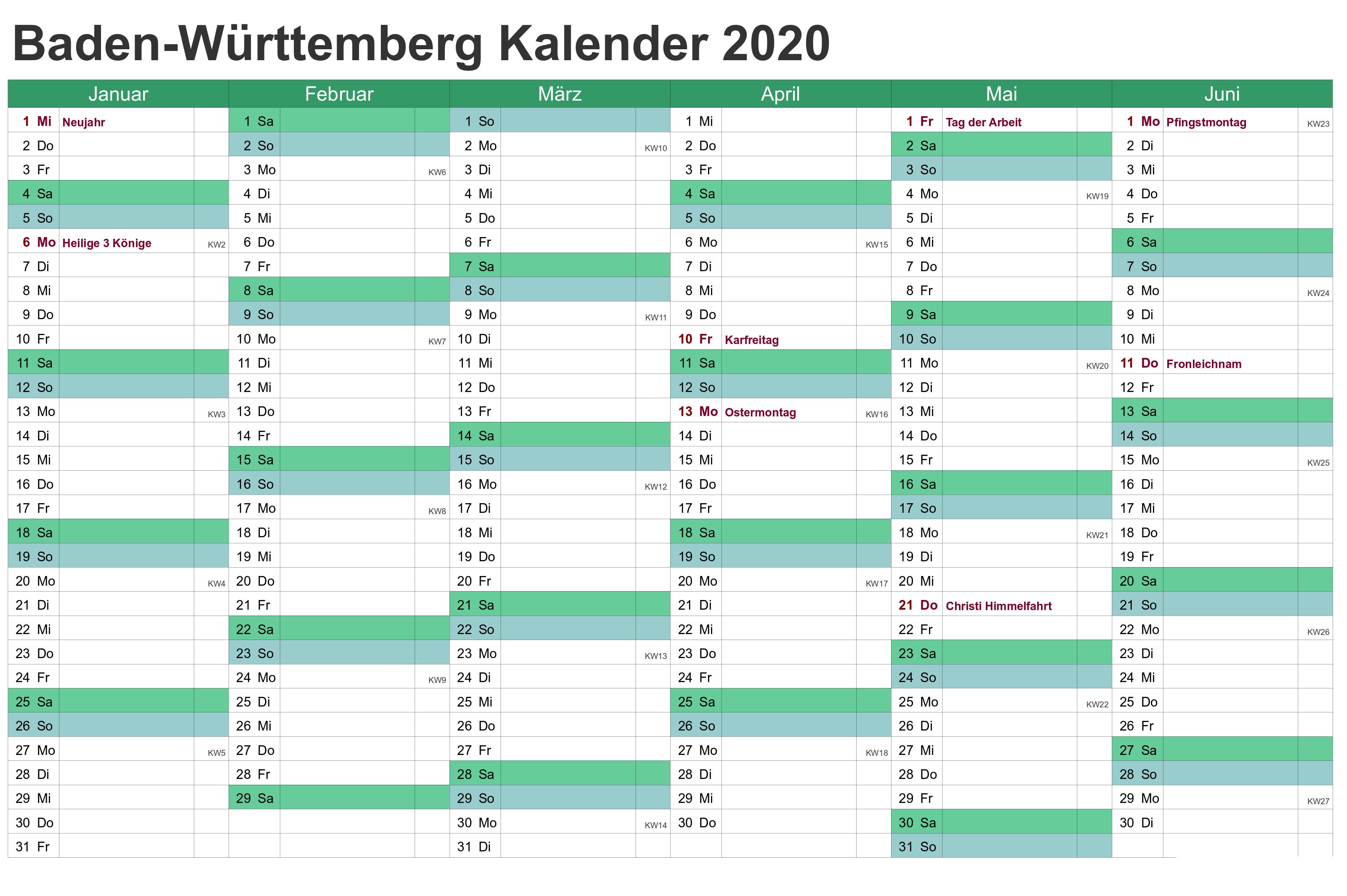 Kalender Baden-Württemberg 2020 Zum Ausdrucken