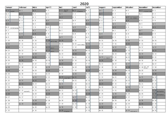 Sommerferien Baden-Württemberg 2020 Excel Word