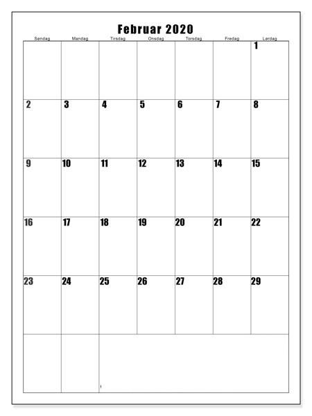 Kalender Februar 2020 Vorlage