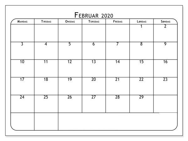 Kalender Februar 2020 Drucken