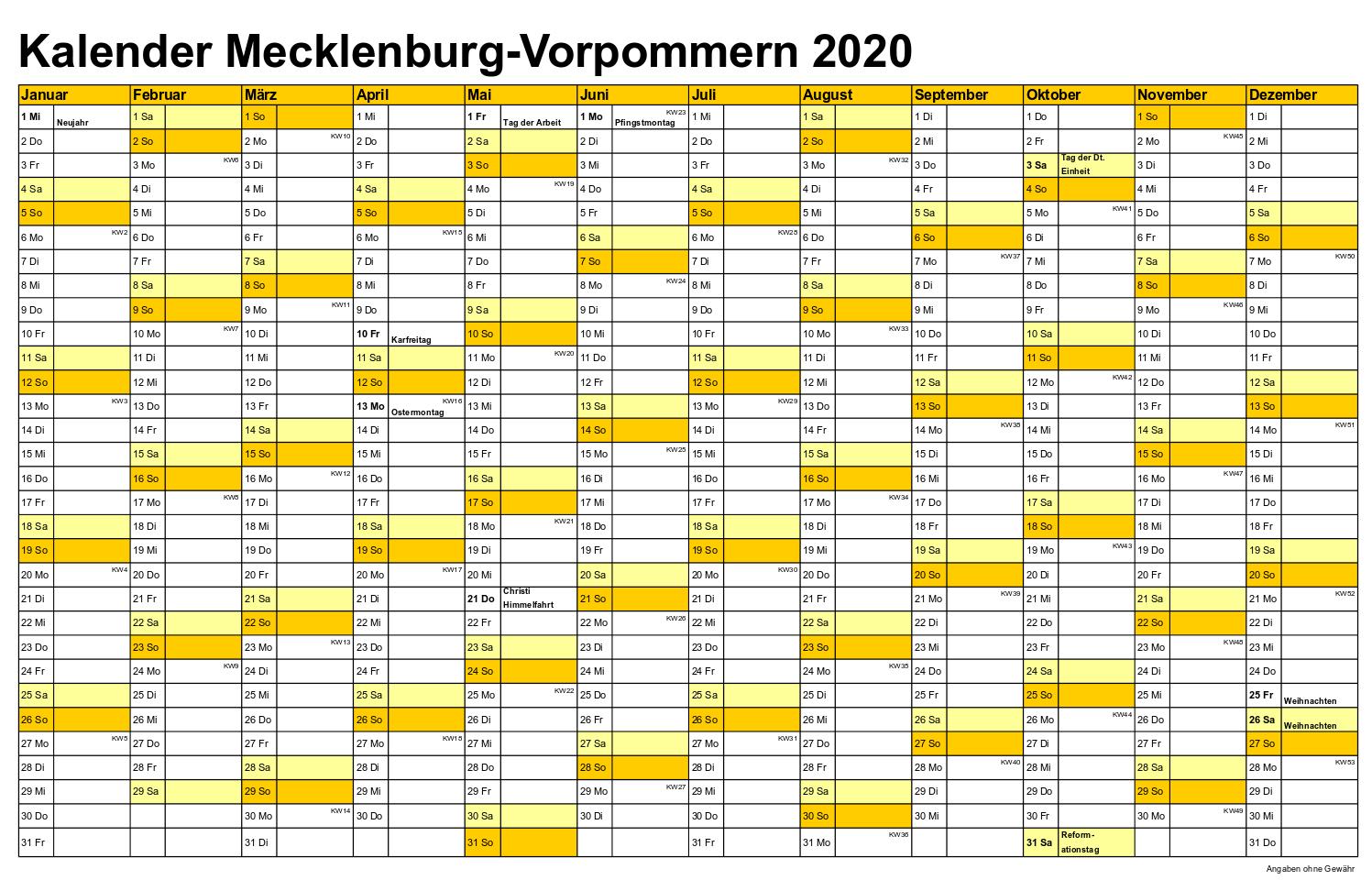 Sommerferien Mecklenburg-Vorpommern 2020 Excel Word