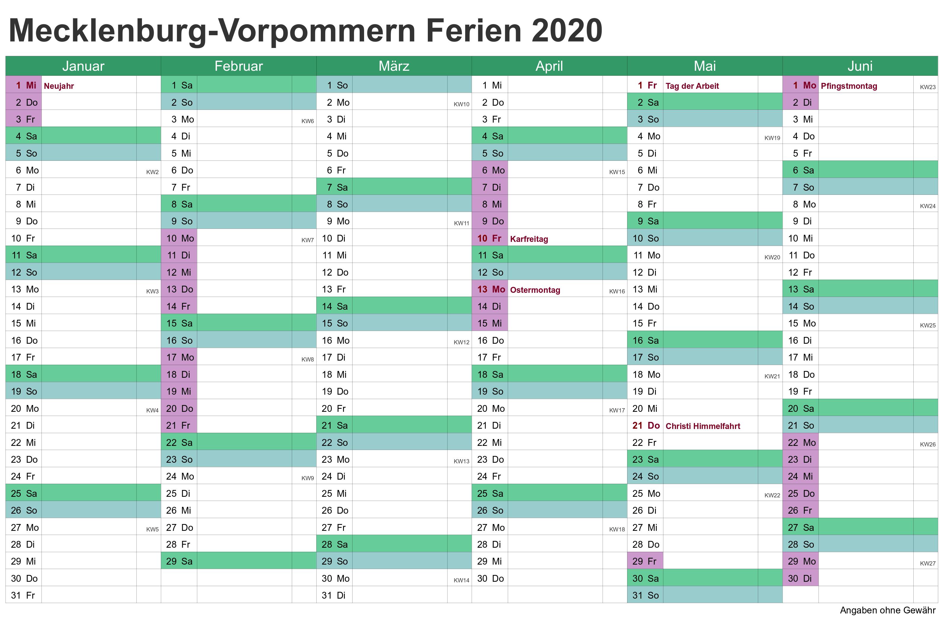 Sommerferien 2020 Mecklenburg-Vorpommern PDF