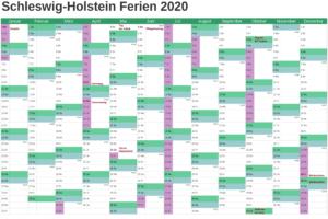 Sommerferien Schleswig-Holstein 2020 Excel Word