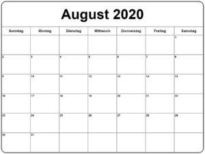 August 2020 Kalender