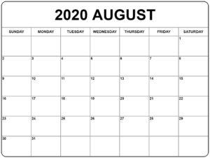 Kalender 2020 August Ausdrucken