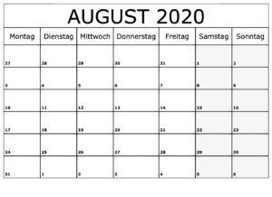 Monats Kalender 2020 August