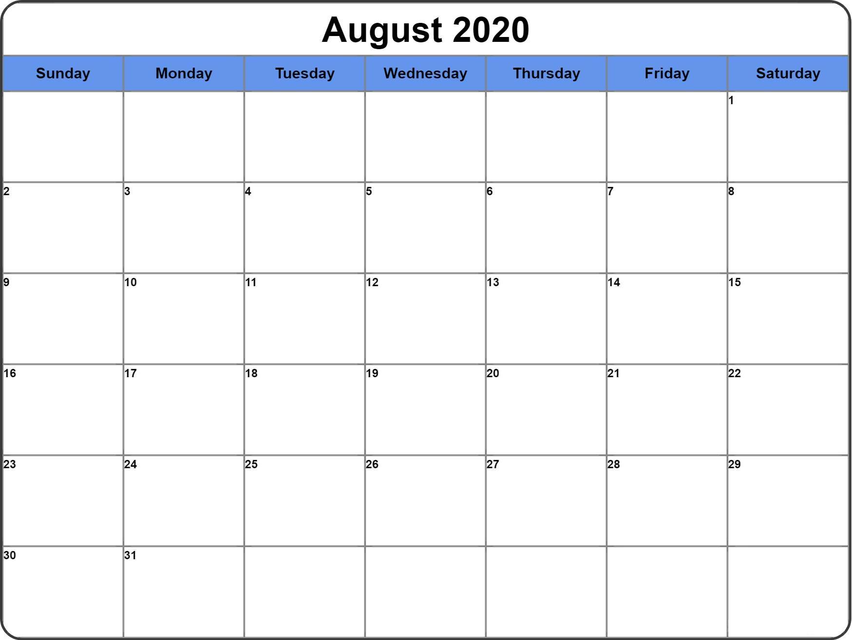 Kalender 2020 August Vorlage