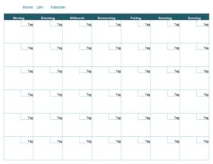 Leere wöchentliche Kalendervorlage
