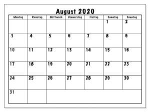 Frei Kalender August 2020 Ausdrucken