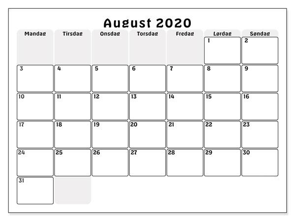 Kalender August 2020 Zum Ausdrucken