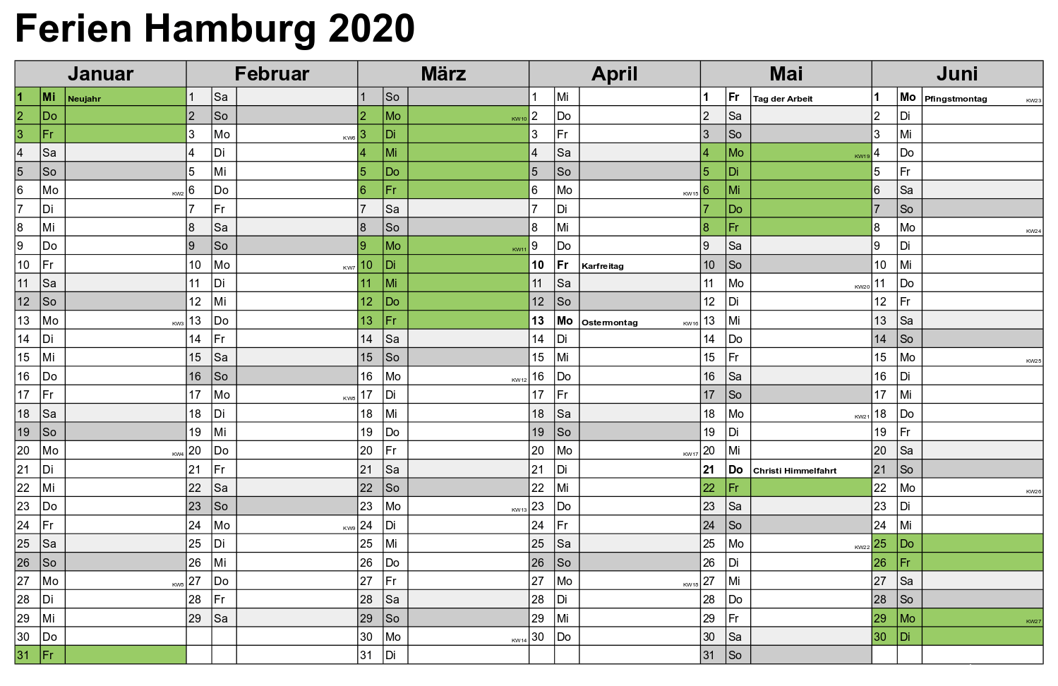 Kalender 2020 Ferien Hamburg