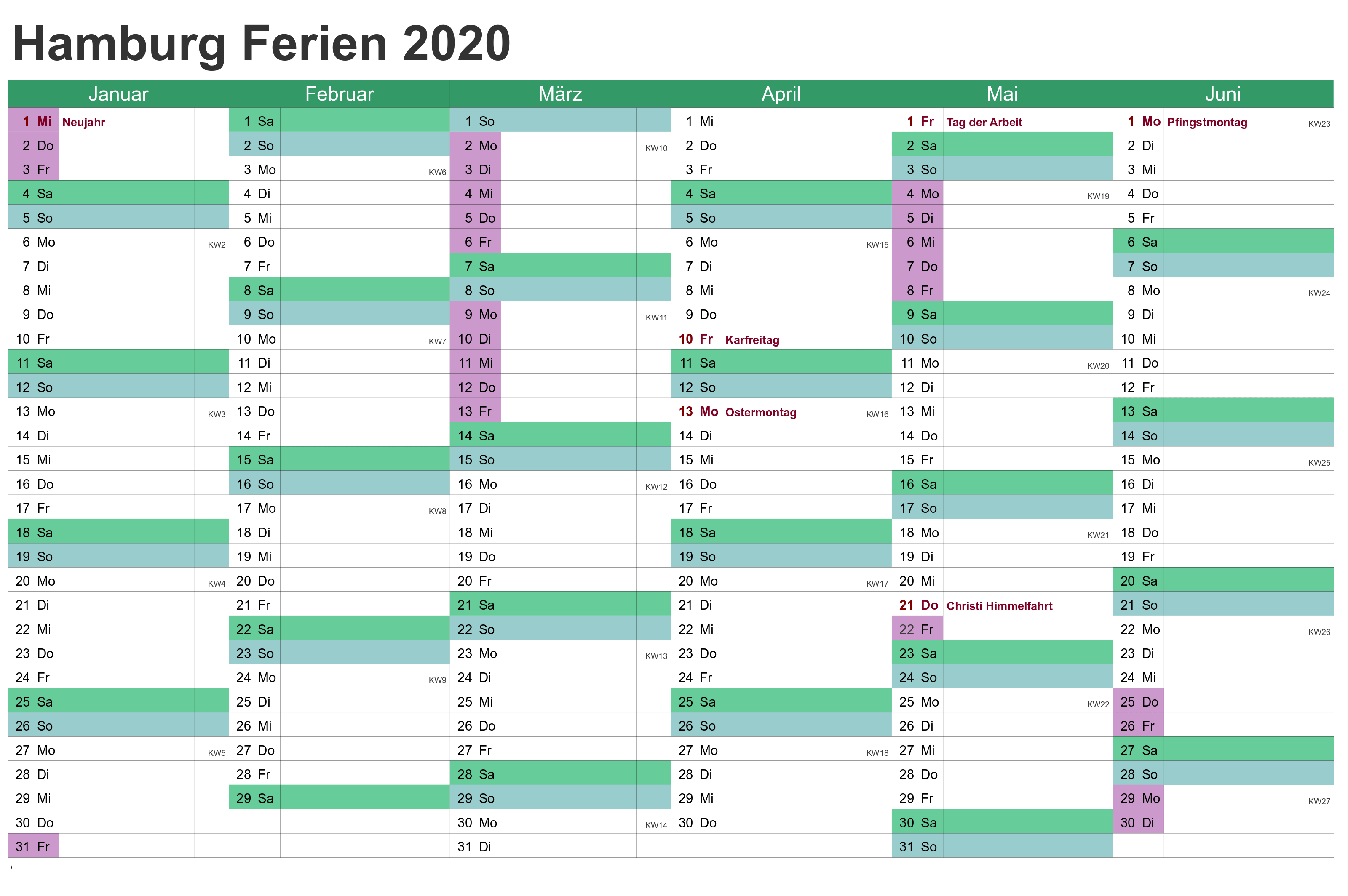 Ferien 2020 Hamburg Kalender PDF