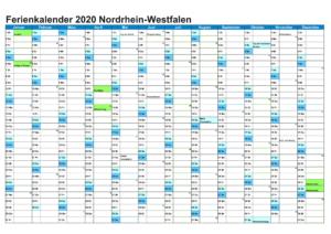 Kalender 2020 Mit Feiertagen NRW