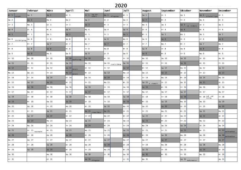 Kalender 2020 NRW Mit Feiertagen Zum Ausdrucken