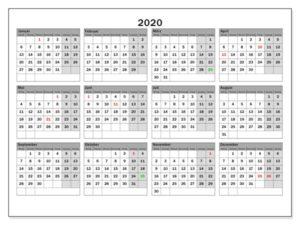 Ferien NRW 2020 Kalender Excel, Word