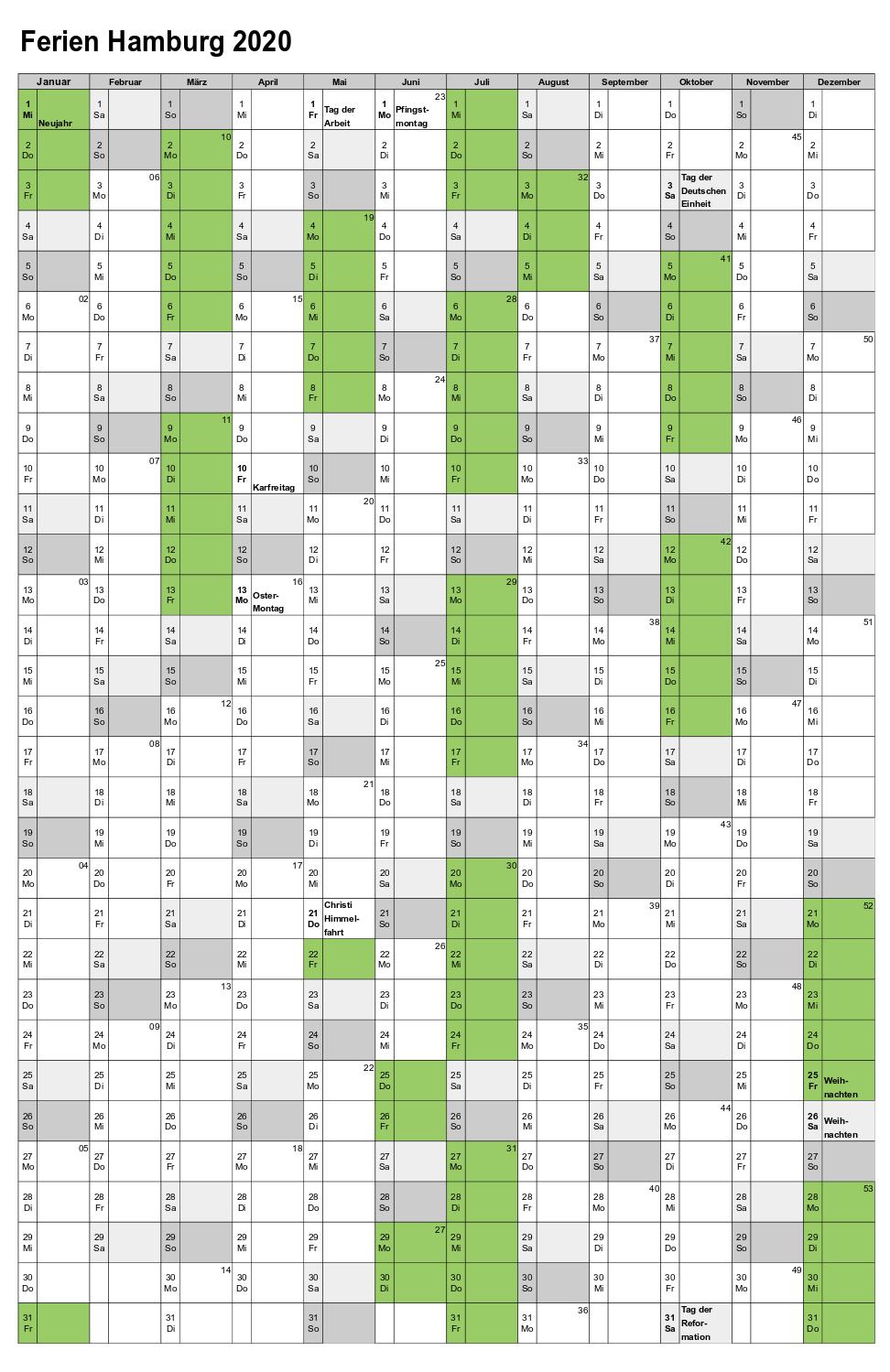 Ferien Hamburg 2020 Kalender Excel, Word