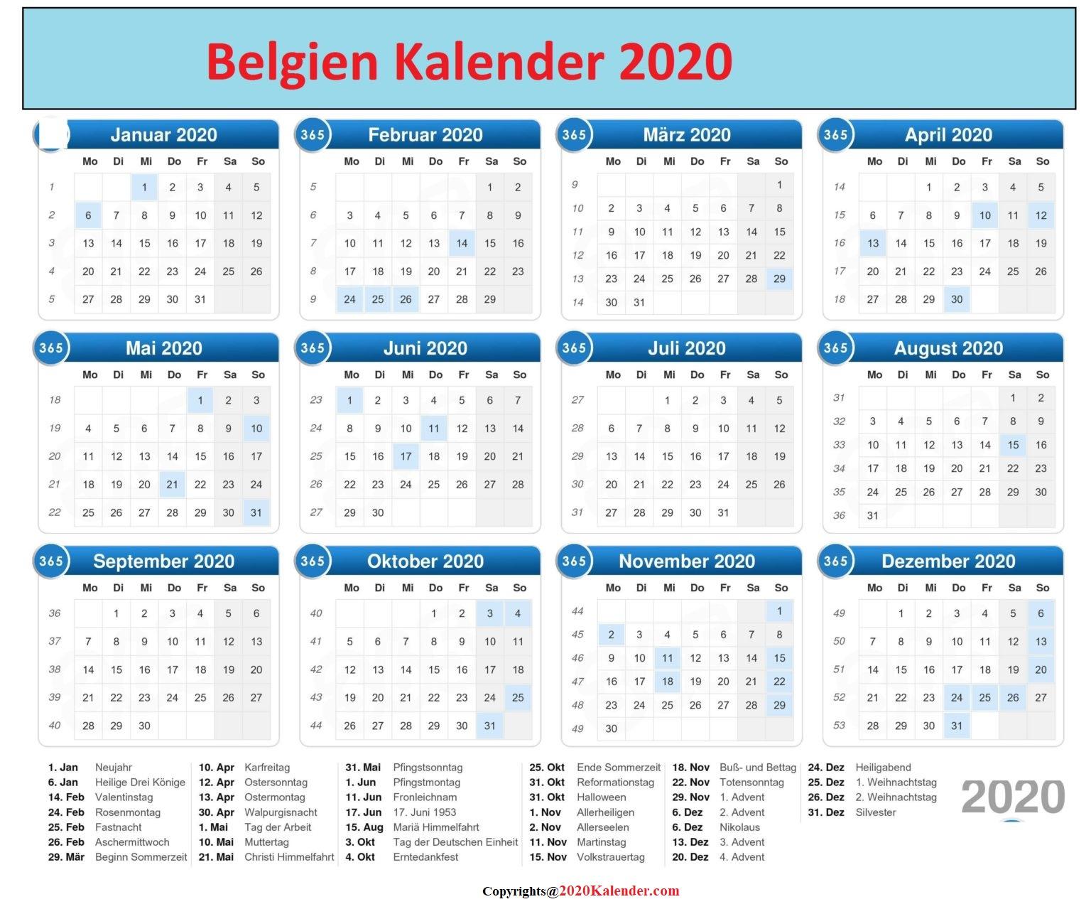 BelgischerKalender2020 Excel