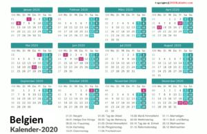 2020 BelgischerKalender MitFeiertagen