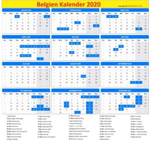 Druckbarer Belgien Kalender2020