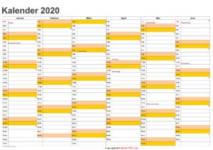 Halbjahreskalender 2020 Excel