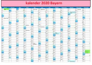 Jahreskalender2020 BayernMit Ferien und Feiertagen
