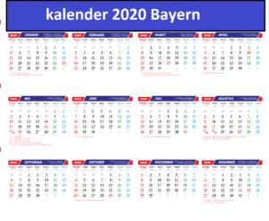 Jahreskalender 2020 Bayern PDF