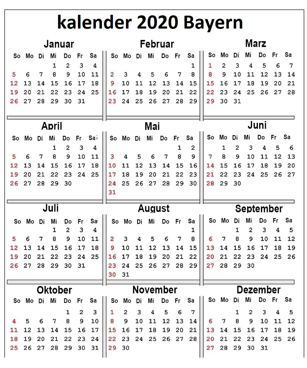 Jahreskalender 2020 Bayern Schulferien