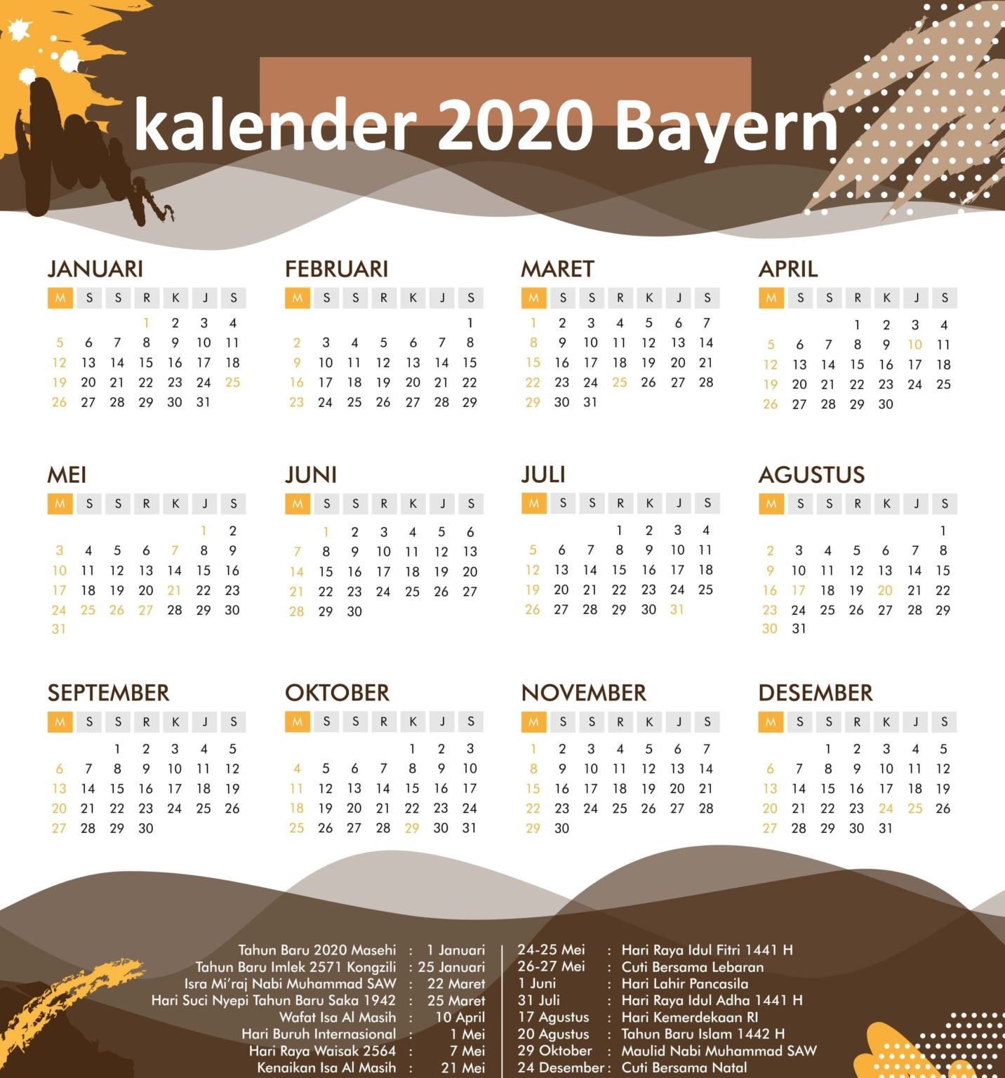 Jahreskalender 2020 Bayern Zum Ausdrucken