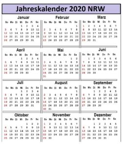 2020 Jahreskalender NRW Excel