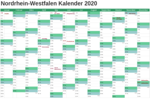Jahreskalender 2020 NRW Ferien