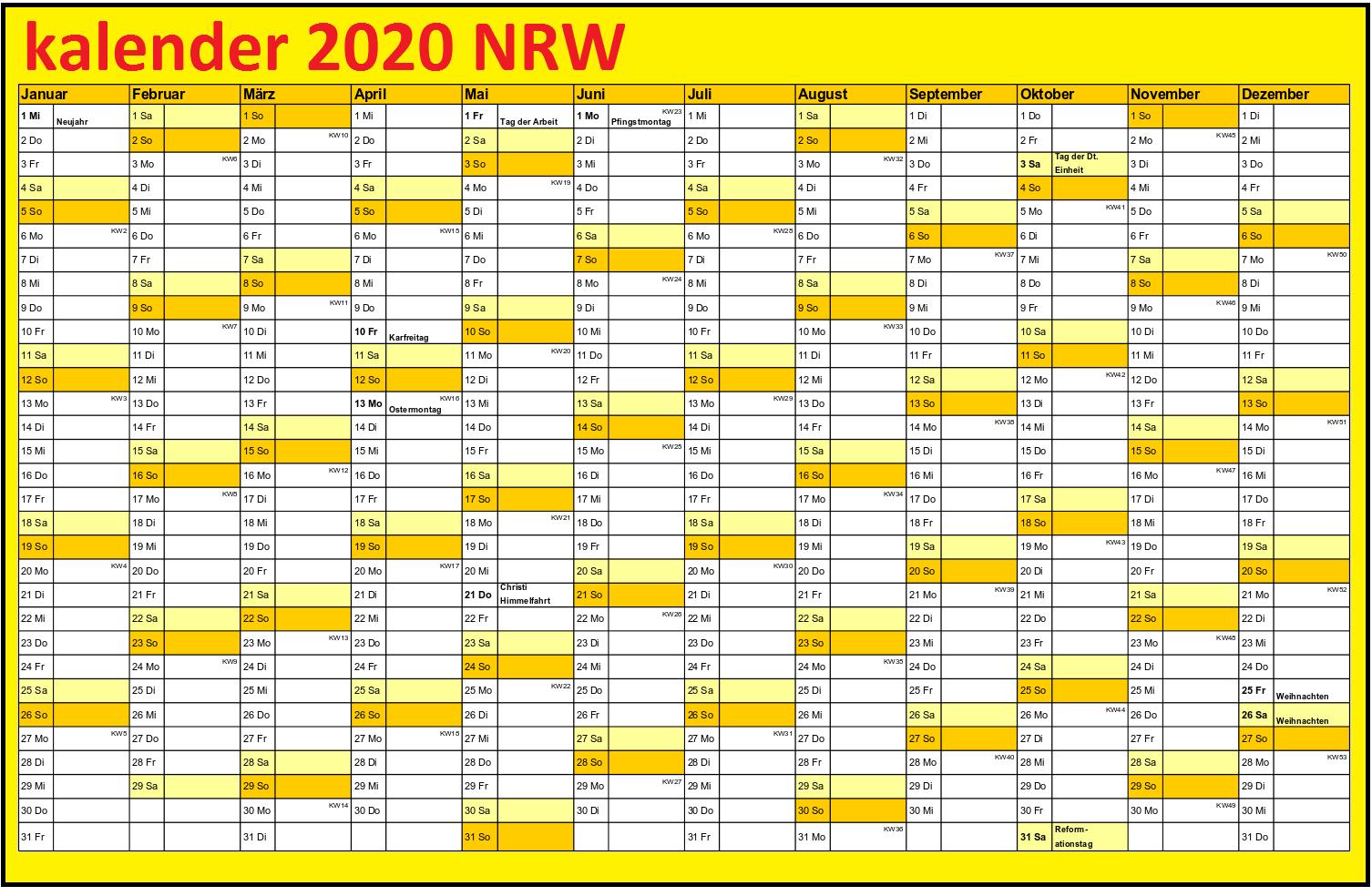 Jahreskalender 2020 NRW PDF