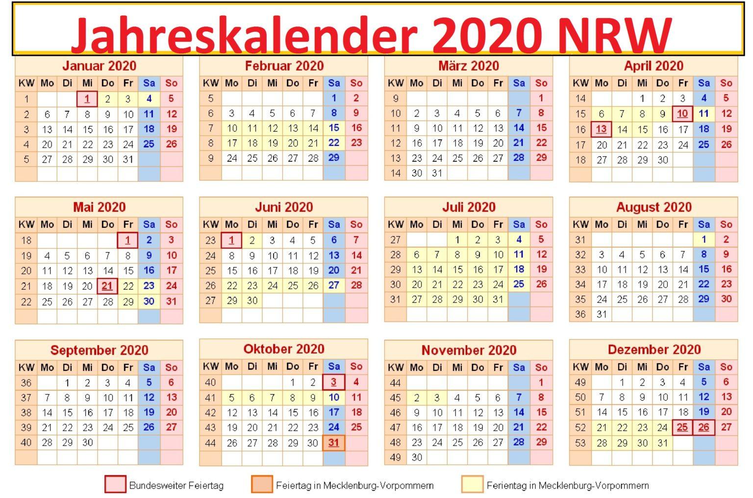Jahreskalender2020 NRW Schulferien