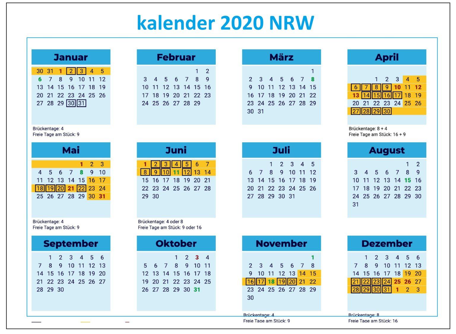 2020 Jahreskalender NRW Zum Ausdrucken